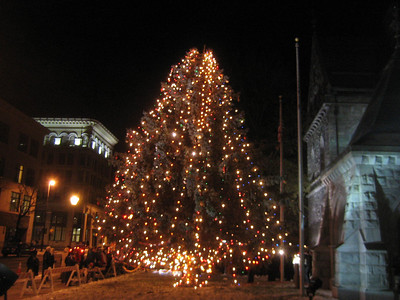 Sandy attended the lighting of the Christmas tree in downtown Holyoke by City Hall.