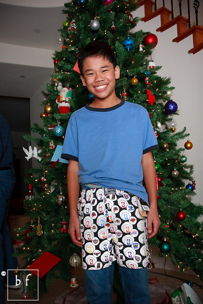 Andrew is wearing his new NFL boxer shorts. Go Vikings! :-)