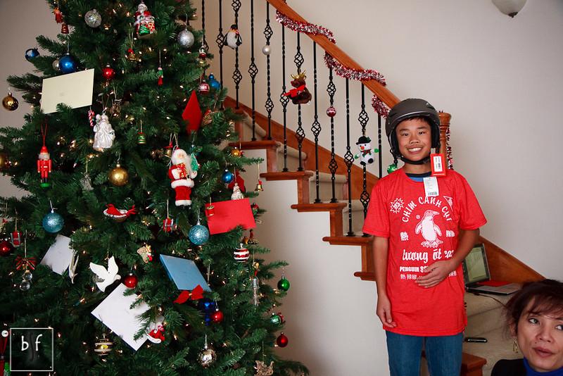Andrew got a Giro snowboard helmet from Grandma.