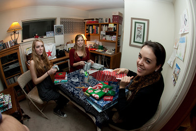 Claudia, Ellie, and Arayana in the office at Myra's.