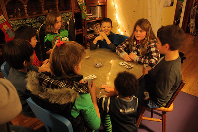 The cousins play some cards