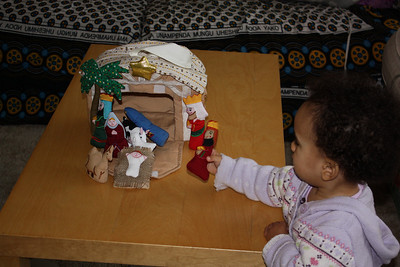 Playing with the nativity set from Bibi
