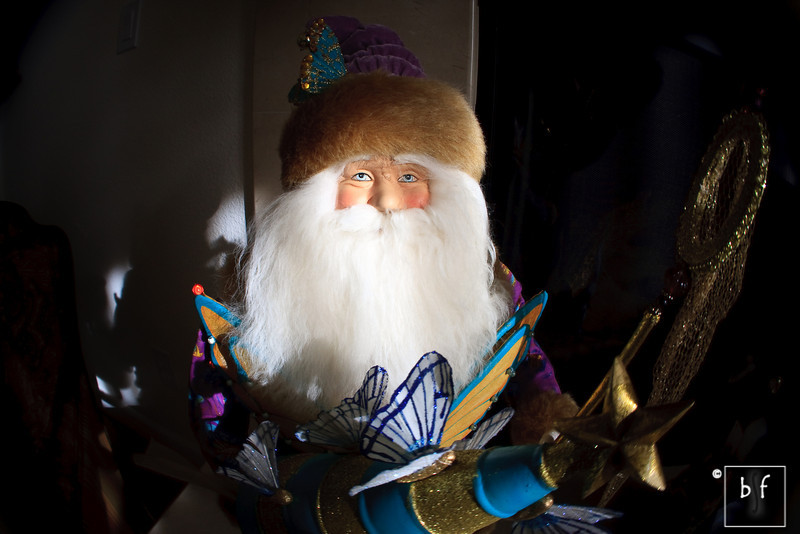 This photo of Santa was shot with a Lensbaby fisheye lens.