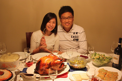 Our first Christmas dinner together as Mr. and Mrs. Cheng