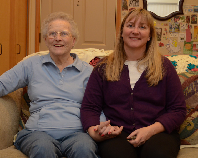 Amy with her mom, Ruth Warmann, at the nursing home in Beaverton.