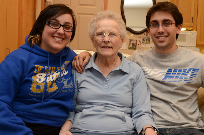 Grandma Warmann with 2 of her 6 grand-kids.