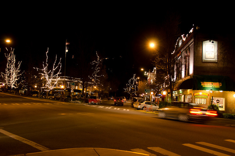 Ashland's downtown area is always pretty at Christmastime, all the businesses coordinate their lights to a master plan.