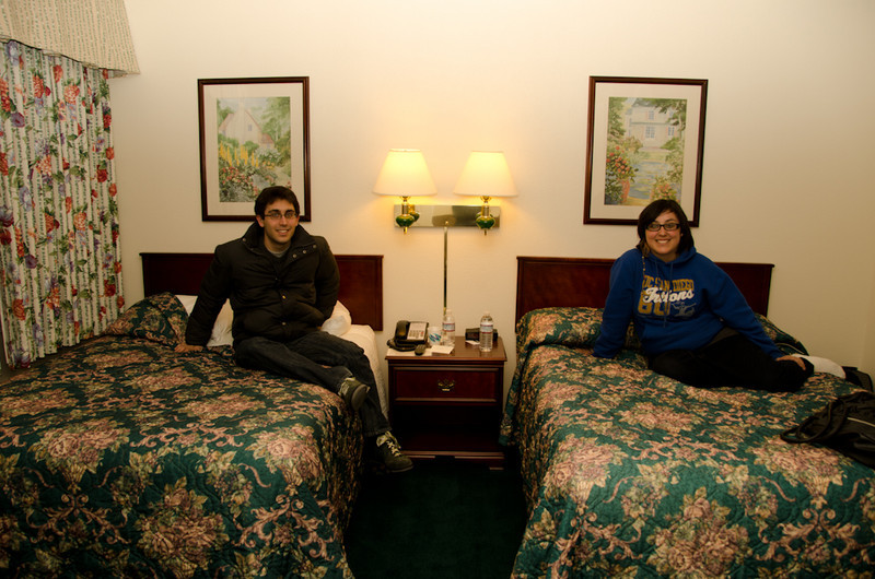Jason and Diana checking out their accommodations at the hotel in Ashland.