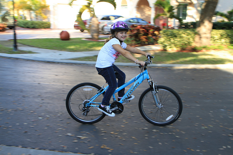 Emma with her new bike.
