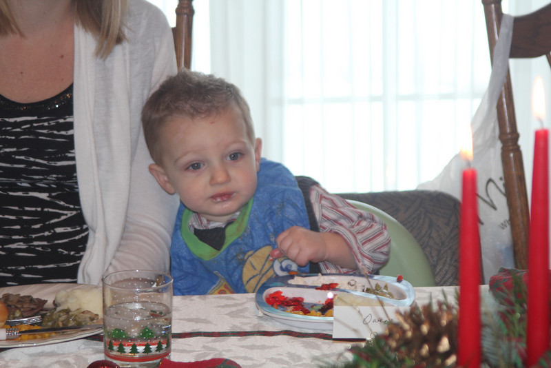 Owen enjoying the delicious Christmas feast prepared with lots of love by Grandma Sandy.