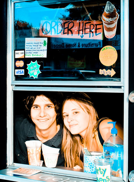 """Nick and Teal at their gelato store, """"Twisted Bliss"""""""