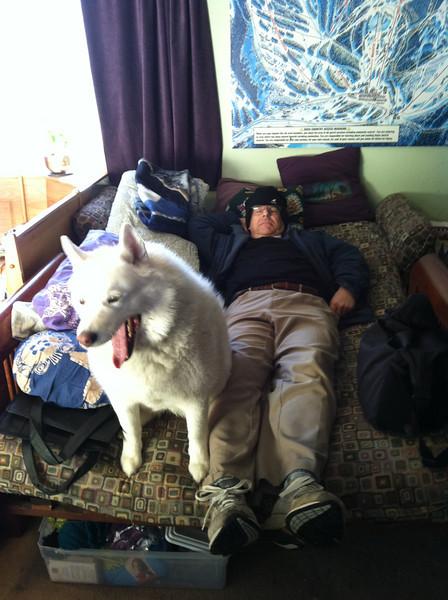 Tundra and Duncan at Viv & Billy's -- sooooo tired!