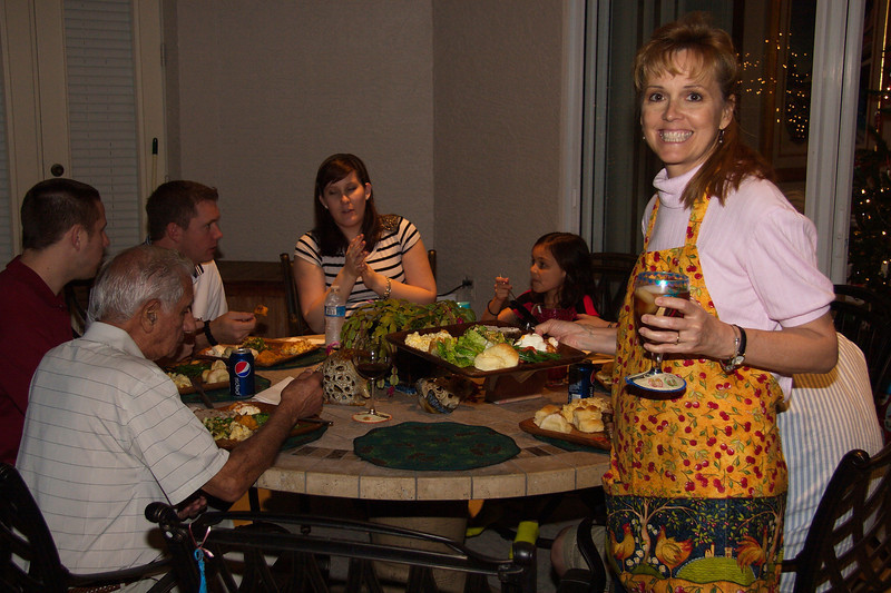 Christmas Eve Eve Eve dinner outside on the lanai