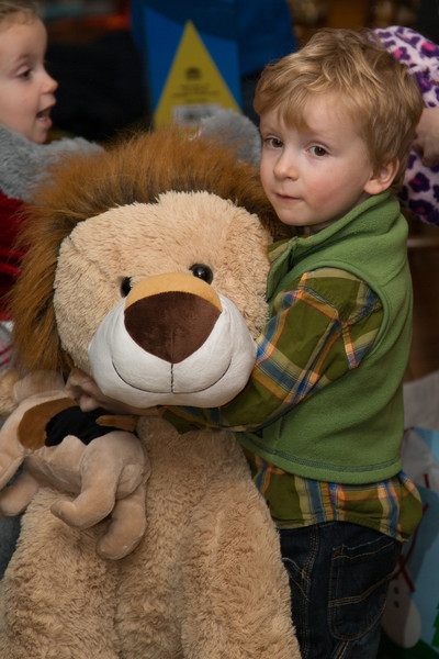 Eli with his lion given to him from his Aunt Kristin