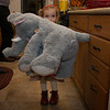 Ellie holding her elephant given to her from Kristin