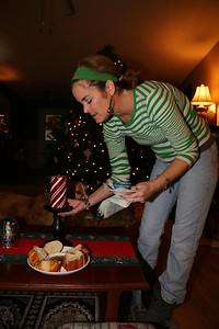 Leanne serves snacks