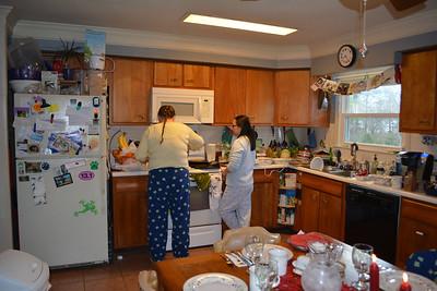 Becky and Karen getting breakfast ready.