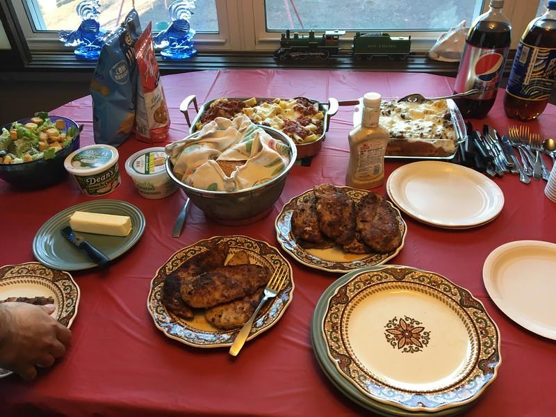 Dinner, prepared by Sonia