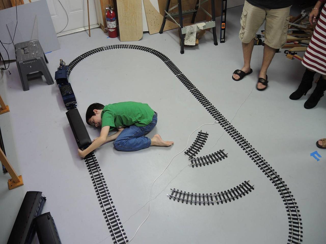 AFTER dinner, Ben finally got a chance to set up his new train set! WOW!