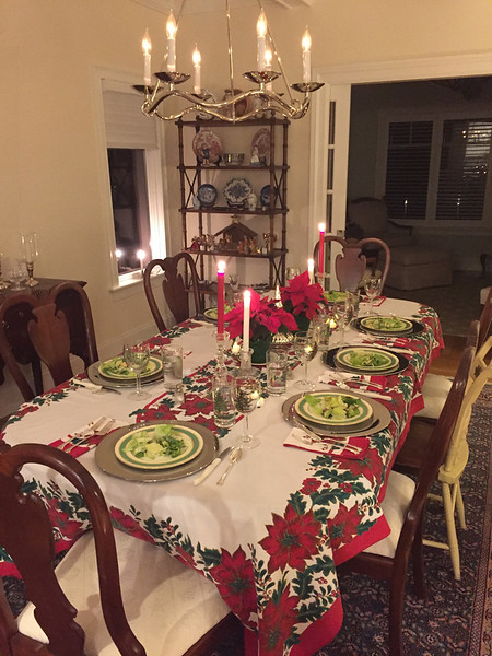 Christmas table at the Barkers, Hingham, MA, December 25, 2017.