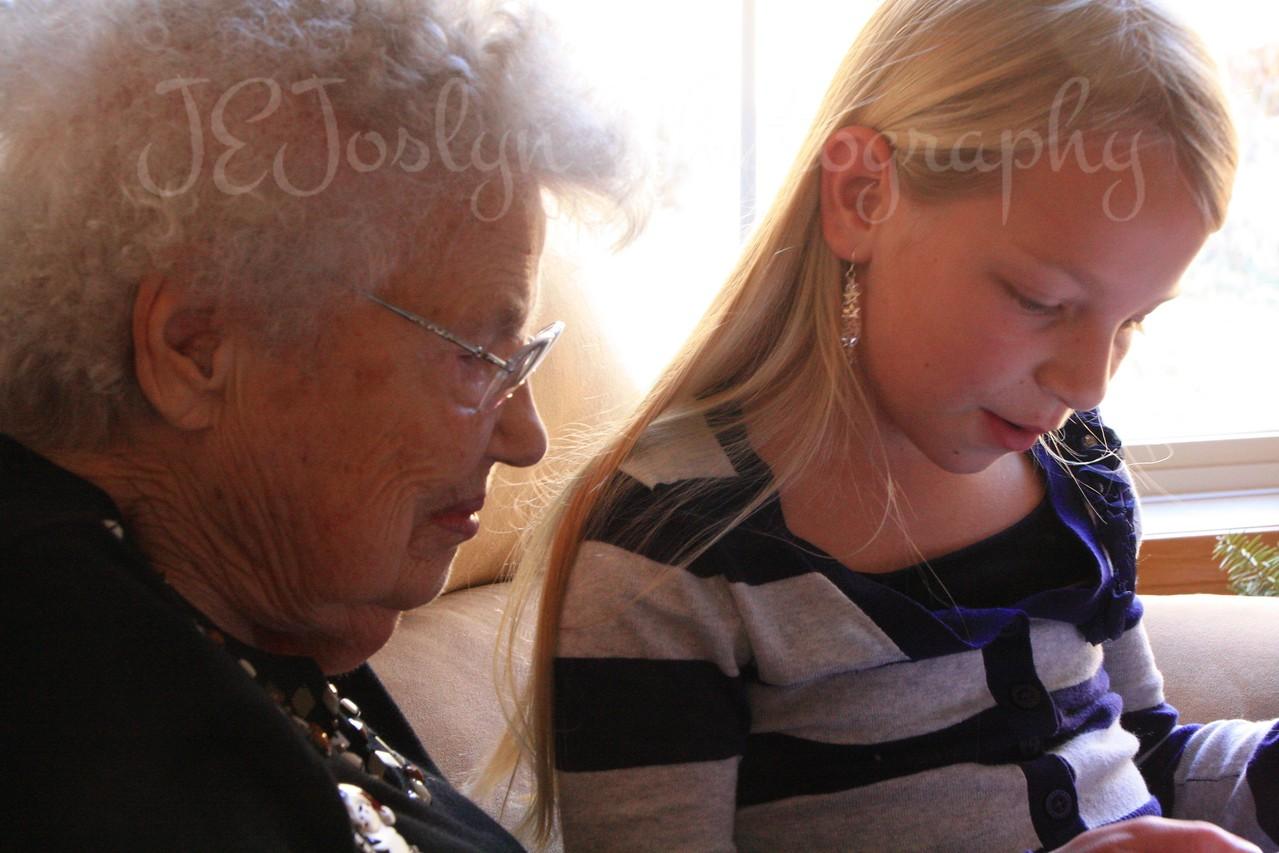 Christmas at Matts 12-2011  -  GD-3 and GreatGrandMa Lois Pryor