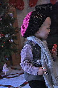 GS-2 - Christmas 2012, wearing Carly's slouch hat.  Once he likes something, NO ONE can take it away.