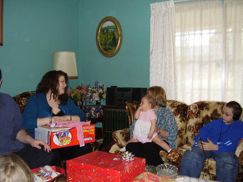 Ashley, Jackie holding Olivia, and Tyler, Lenora's fiance Greg's son.