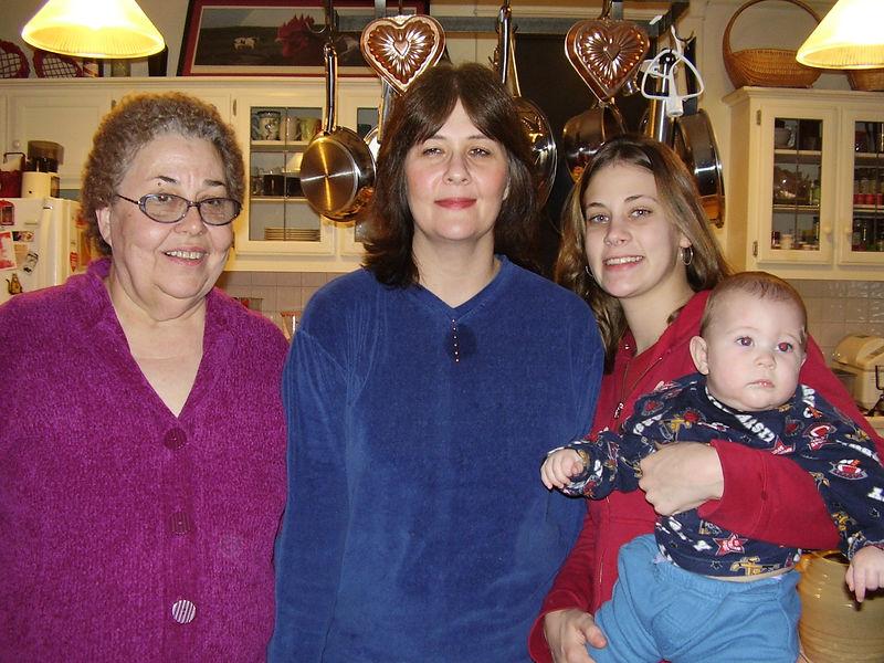 Four generations: Jackie's sister, Jan Howard; her daughter, Julie; Julie's daughter, April; and April's son, Aden.