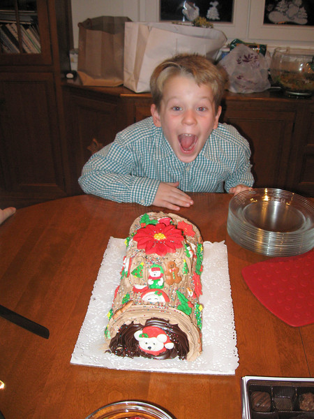 Will hits the jackpot: his favorite uncle tells him he can eat the whole Yule log