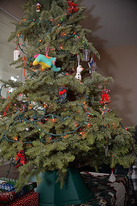 The tree was a bit sparse this year.  Somehow, I've misplaced a giant tub of all the 'good' decorations.