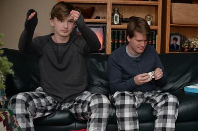 Matching boys.  Matching shirts.  Matching jammie pants.