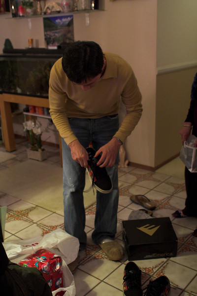 Cau Hung got his present from Jeremy...some shoes!