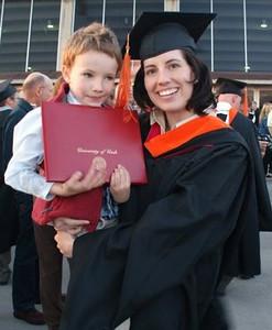 Sara receiving her masters degree