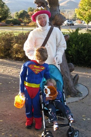 Bryan and kids trick or treating in Los Alamos