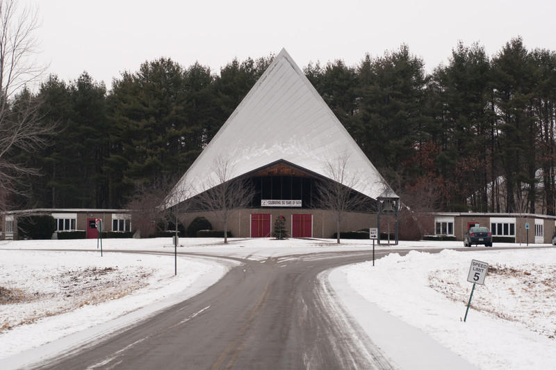 The United Methodist Church in Laconia. Technically it is a white Christmas, though the snow is less than an inch.