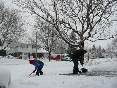Clearing the driveway of snow