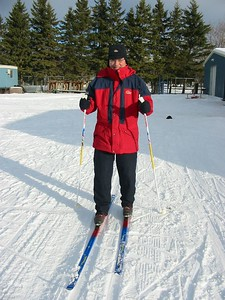 Grandad cross country skiing