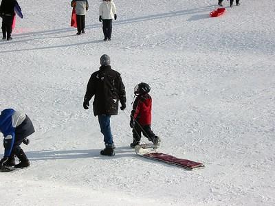 Daddy & Thomas sledging at Mooney's Bay