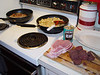Breakfast, English Sausages, Black Pudding & Beans, Irish Bacon & Oregon Fried Potatoes.