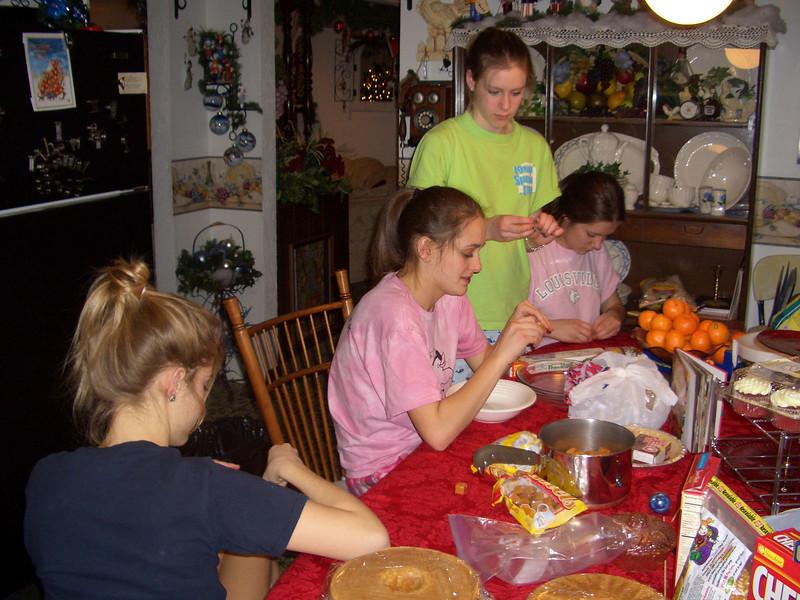Making popcorn balls at Nanny's house