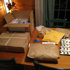 [12/11] The table looks like a post office! This year we have packages going to Australia, Canada, Japan & the UK.