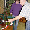 Phil & Nick were in charge of flambeing the Steamed Cranberry pudding.