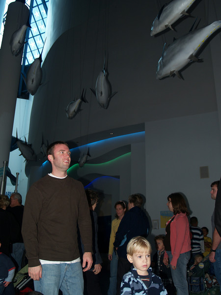 Ash & Logan in aquarium foyer