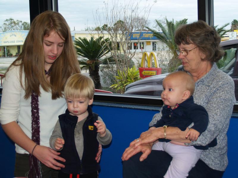 McD's outing - Lydia, Gray, Grandma & Yvie