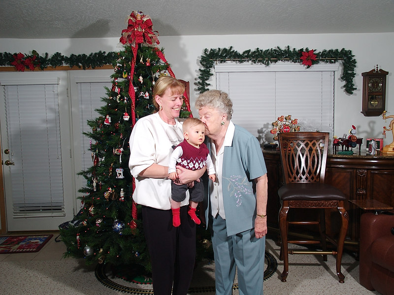 Great grandma gives Cody kisses