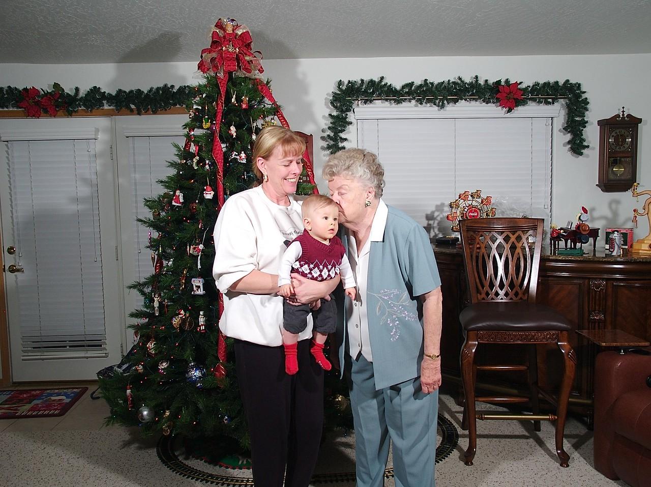 Great grandma gives Cody kisses