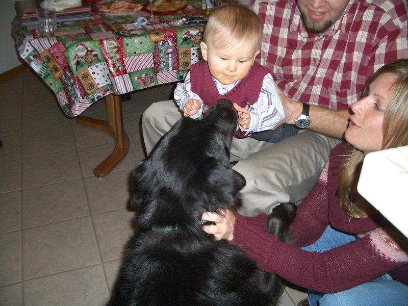 Cody pets Slugger 12/24