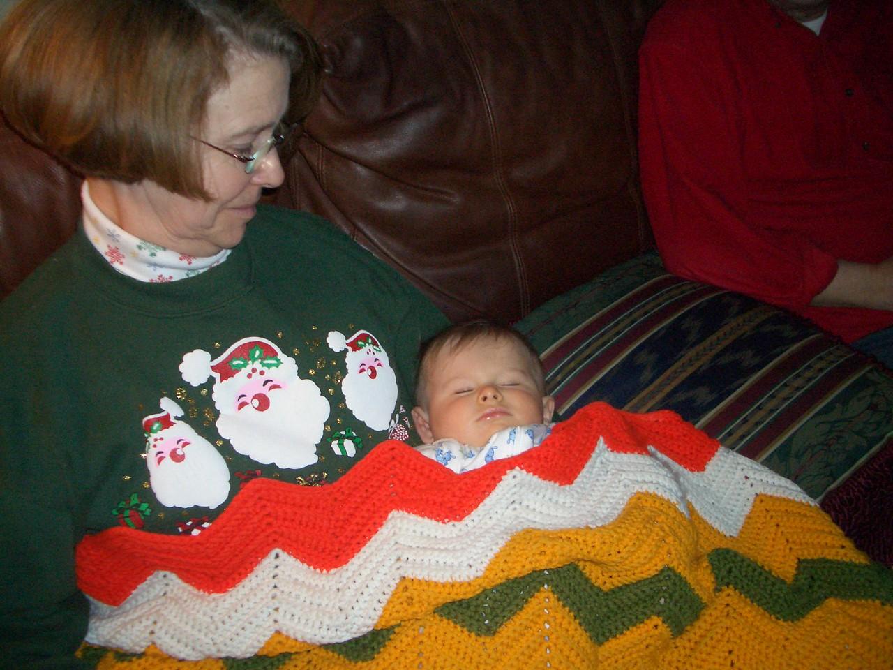 Grandma Jan and sleeping Cody. 12/26