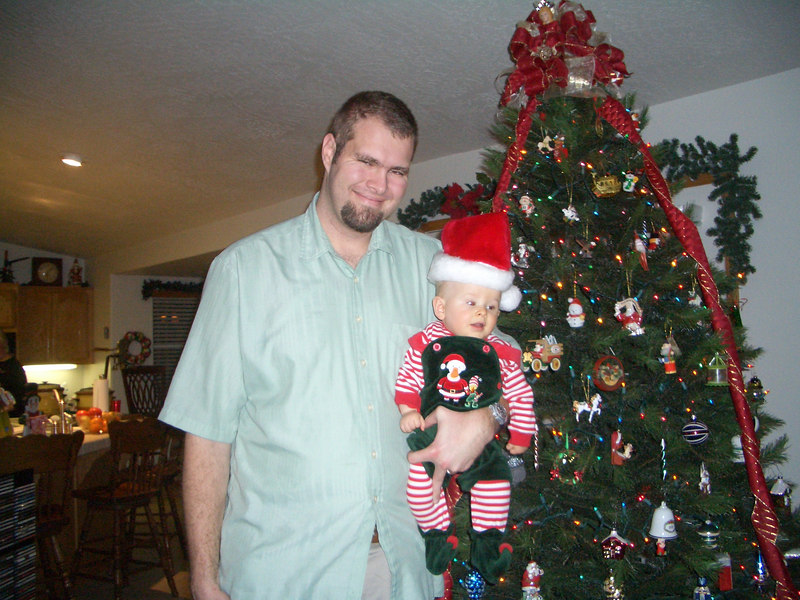 Daddy and Cody by the Christmas tree 12/16