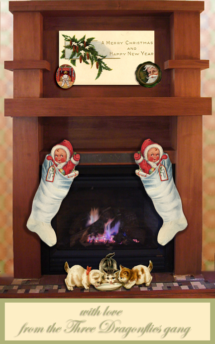 This is the 2004 Christmas card we did not get sent, but now we can share it with all of you here. It showcases our new fireplace along with some fun antique Christmas tags!